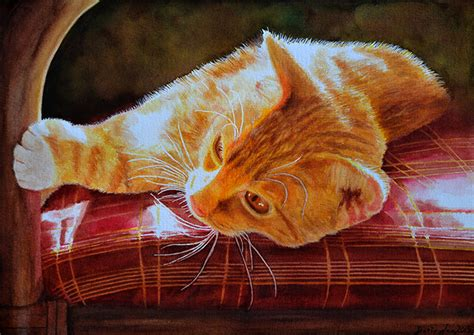 Pink Fur Chair by Watercolor Paintings Roses Flowers Cats Figures Amp Portrait