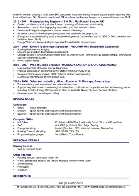 cv of diego calandrino renewable energy consultant