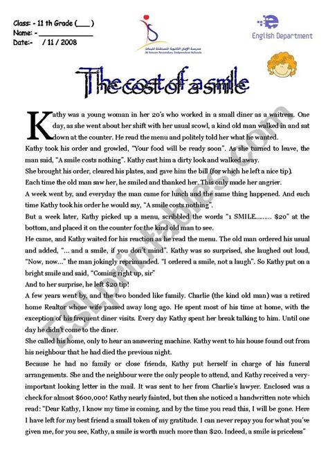 short story esl worksheet  tamjihad
