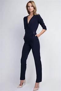 Combinaison Pantalon Femme Habillée : combinaison bleu marine femme tr s chic et l gante ~ Carolinahurricanesstore.com Idées de Décoration