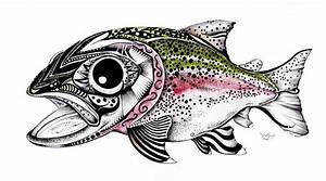 Abstract Alaskan Rainbow Trout Painting by J Vincent Scarpace