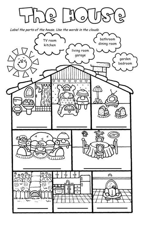 esl house vocabulary worksheets images frompo