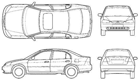 honda civic sedan blueprints  outlines
