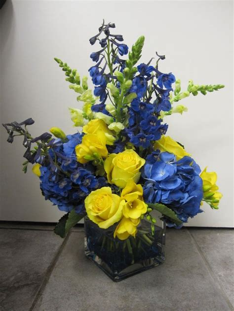 blue yellow centerpiece blue  yellow centerpiece