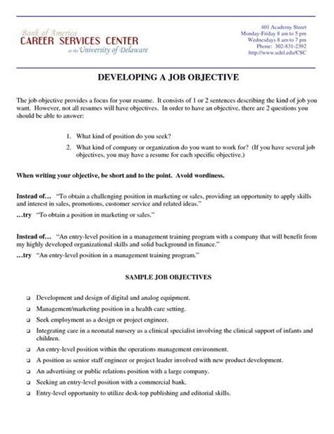 17 best ideas about exles of resume objectives on