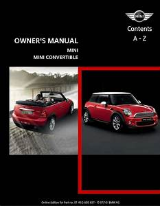 Mini Cooper Convertible 2011 Owner U0026 39 S Manual