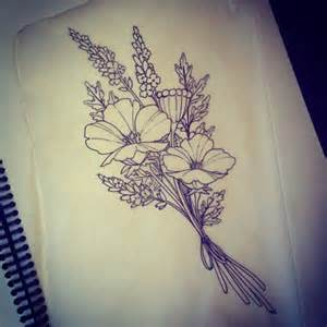 Bouquet of Flowers Tattoo Drawing