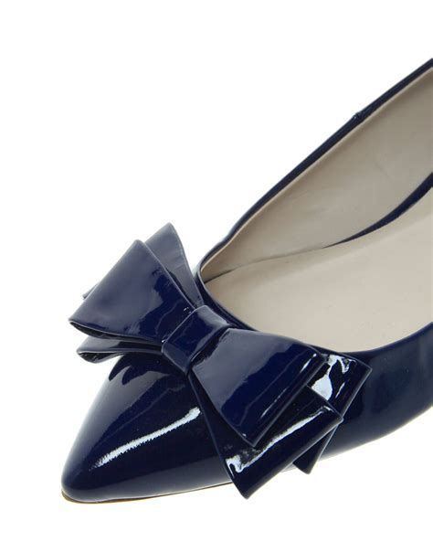 bow pointed flats dune lavish pointed toe bow flats in blue lyst
