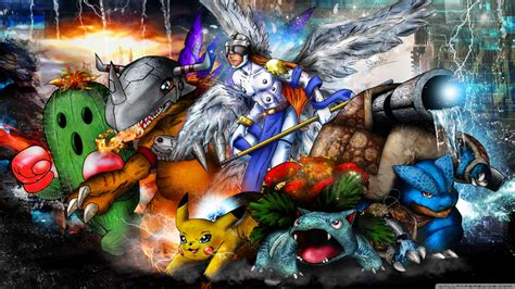 digimon  pokemon mash    hd desktop wallpaper