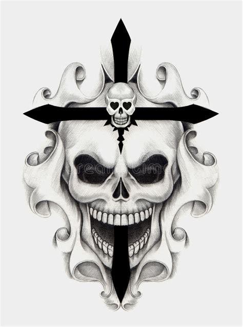 Art Skull Cross Tattoo Stock Illustration Image