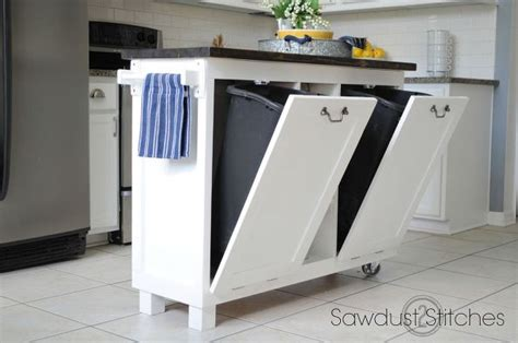 kitchen island with trash can garbage can hacks how to organize your garbage 8276
