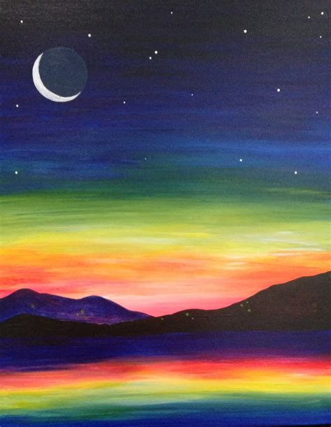 Easy Mountain Paintings Sunset
