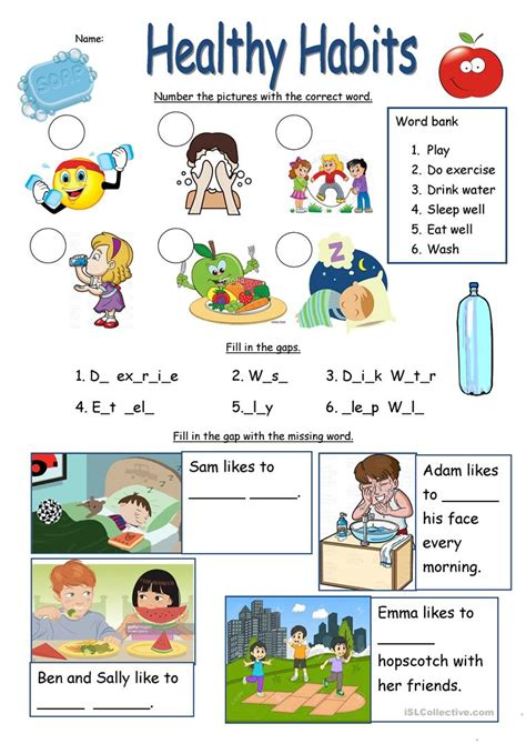 healthy habits worksheet esl worksheets