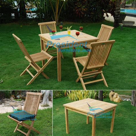 square table bistro 90cm and folding chair by president
