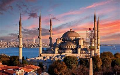 Istanbul Mosque Sultan Turkey Ahmed Sunset Evening