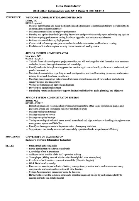 system administrator resume sle oursearchworld