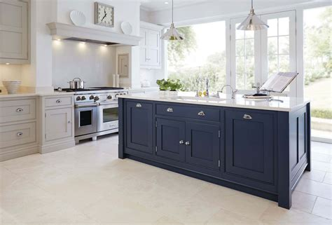 painted islands for kitchens blue painted kitchen tom howley 3975