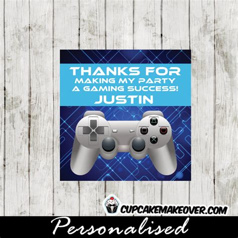 blue video game   cards personalized gift tags
