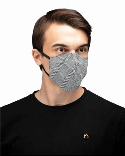 Mask Face Cotton Grey Reusable Check Masks