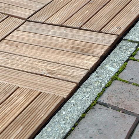 pack of 9 diy interlocking wooden decking floor tiles