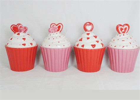 cupcake canisters for kitchen beautiful ceramic kitchen canisters painted cupcake