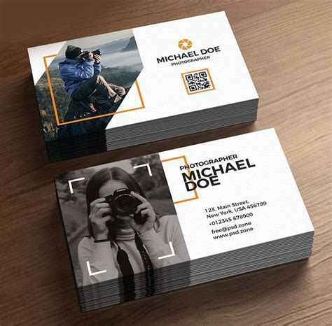 stylish photographer business cards template
