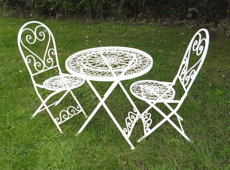 shabby chic garden chairs shabby chic bistro set cream metal heart bistro metal garden table and chairs