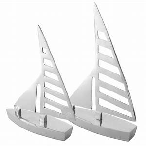 39clipper39 pair of silver aluminium sail boat home bathroom for Boat ornaments for bathroom