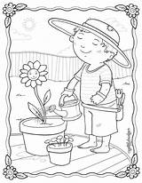 Coloring Pages Garden Plantation Gardening Spring Kleurplaat Tuin Rocks Easy Printable Summer Flower Card Drawing Adult Tuinieren Enjoying Sheets Kleurplaten sketch template