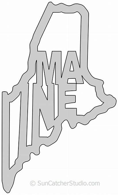 Maine State Printable Shape Outline Stencil Pattern