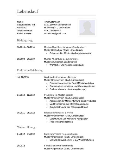Tabellarischer Lebenslauf Vorlage Word by Tabellarischer Lebenslauf Muster Aufbau Word Vorlage