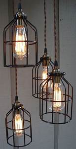 Upcycled industrial edison bulb cage hanging pendant light