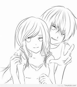 Cute Anime Couple Coloring Pages Timykids