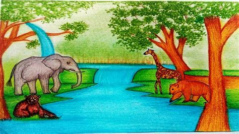 draw forest scenery  animals forest scenery
