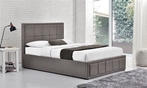 150cm shay fabric ottoman bed grey oak furniture direct