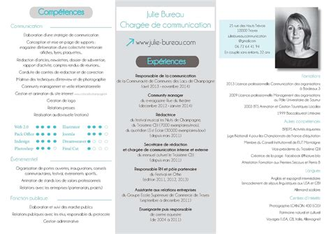 Cv Exemplaires by Calam 233 O Cv Julie Bureau Charg 233 E De Communication