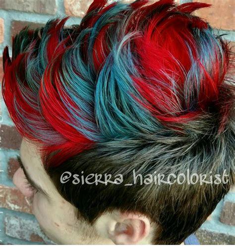 Mens Hair Haircut Mohawk Red And Blue Hair Lanza