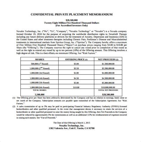 private placement memorandum samples sample templates