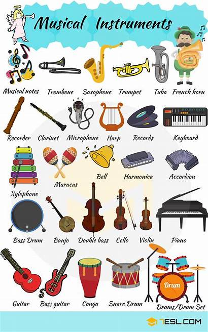 Instruments Musical Names Examples Vocabulary