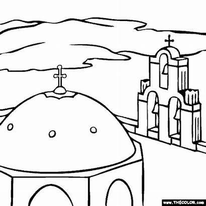 Coloring Church Places Famous Santorini Colouring Greece