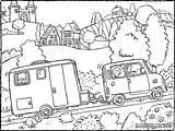 Caravan Colouring Drawing Kiddicolour sketch template
