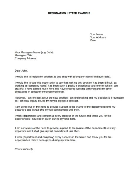 sample letter  resignation   documents