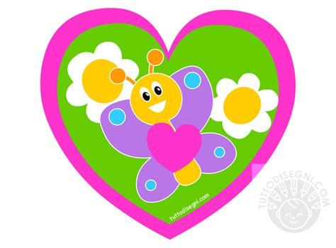 biglietto  forma cuore  farfalle  margherite