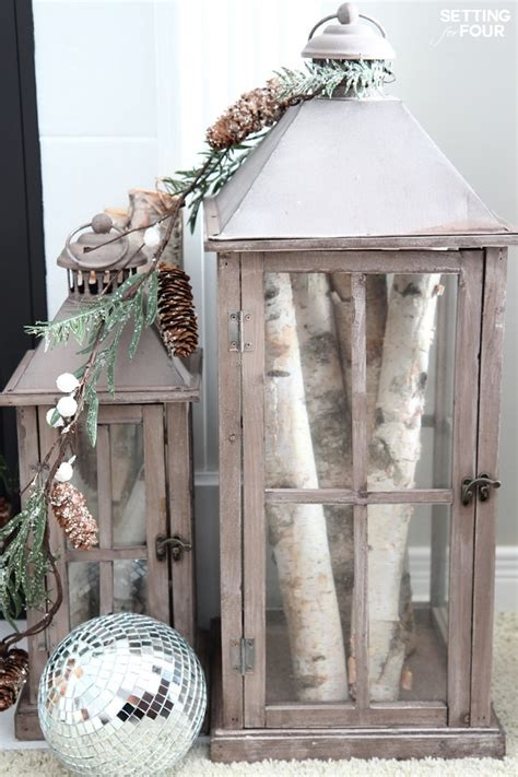 Decorating Ideas With Lanterns by Winter Mantel Decorating Ideas Setting For Four