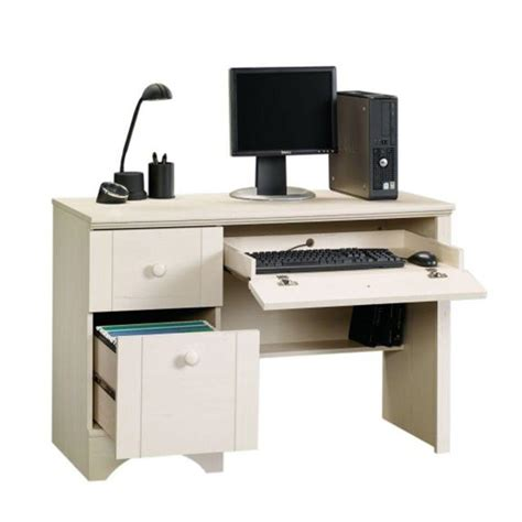 sauder computer desk with keyboard tray sauder harbor view collection 43 in antiqued white