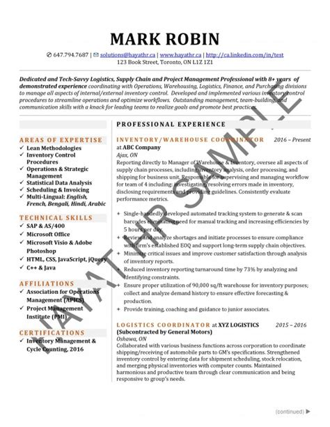 Inventory Analyst Resume by Sles Hayat Inc
