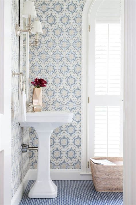 dc metro teal damask wallpaper powder room transitional