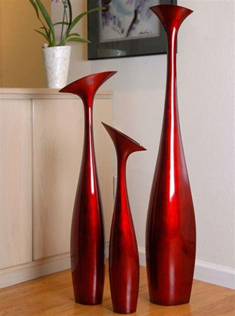 Tall Flower Vase   Large in Red Black by Hebi Arts   17