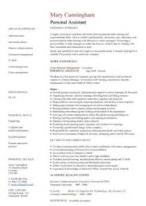 personal attributes for retail resume personal assistant cv sle