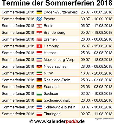 sommerferien und deutschland alle bundeslaender
